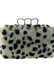 cheap -Women's Bags Fur Evening Bag Crystals / Feathers / Fur Beige / Camel