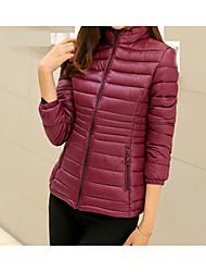 Недорогие -Пальто На каждый день Пуховик Для женщин,Однотонный Повседневные На выход Полиэстер Длинный рукав
