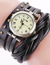 cheap -Men's Women's Casual Watch Fashion Watch Unique Creative Watch Chinese Quartz Chronograph Water Resistant / Water Proof Genuine Leather