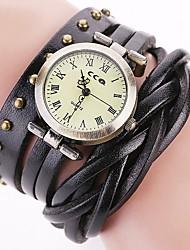 preiswerte -Damen Quartz Armbanduhr Chinesisch Chronograph / Wasserdicht Echtes Leder Band Retro / Freizeit / Modisch Schwarz / Weiß / Blau / Rot /