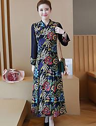 abordables -Femme Chinoiserie Trapèze Gaine Balançoire Robe Géométrique