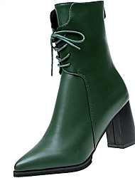 Недорогие -Для женщин Обувь Полиуретан Зима Удобная обувь Ботинки Блочная пятка Заостренный носок для Повседневные Черный Военно-зеленный