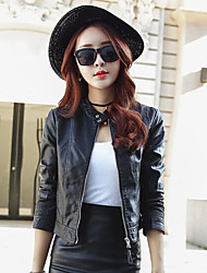 cheap -Women's Daily Simple Casual Fall Leather Jacket,Solid Stand Long Sleeves Short PU