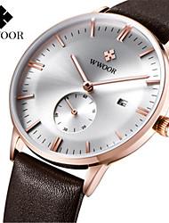levne -WWOOR Pánské Náramkové hodinky Hodinky k šatům Módní hodinky Hodinky na běžné nošení Křemenný Kalendář Pravá kůže Kapela Na běžné nošení
