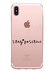 Para iPhone X iPhone 8 Case Tampa Transparente Estampada Capa Traseira Capinha Palavra / Frase Macia PUT para Apple iPhone X iPhone 8