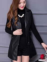 cheap -Women's Daily Going out Street chic Winter Fall Vest,Solid Peter Pan Collar Sleeveless Long PU