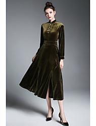 Gaine Robe Femme Soirée Sortie simple Rétro,Couleur Pleine Col Mandarin Midi Manches courtes Rayonne Printemps Automne Taille médiale