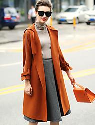 Dámské Jednobarevné Wear to work Běžné/Denní Jednoduchý Kabát-Zima Vlna Dlouhý rukáv Standardní