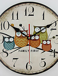 1PC  New European Style Vintage Creative Forest Owl Round Wood Wall Clock Quartz Bracket Kitchen Clocks Decoration Decor