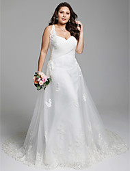 cheap -A-Line Strap Court Train Tulle Over Lace Made-To-Measure Wedding Dresses with Appliques / Criss Cross / Lace-up by LAN TING BRIDE®