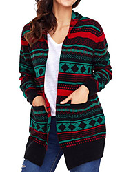 cheap -Women's Daily Going out Regular Cardigan,Print V Neck Long Sleeves Spandex Winter Fall Medium Micro-elastic