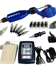 Complete Tattoo Kit Machines G164A1 Liner & Shader Zebra Dual LED Digital Power Supply With 10PCS Needles