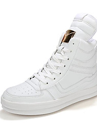 cheap -Men's Shoes PU Spring Fall Comfort Boots For Casual Black/White Black White