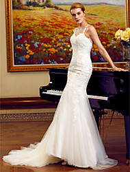 cheap -Mermaid / Trumpet Spaghetti Strap Chapel Train Tulle / Lace Over Tulle Made-To-Measure Wedding Dresses with Appliques / Lace by LAN TING BRIDE® / Open Back