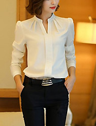 cheap -Women's Daily Casual Fall Blouse,Solid Stand Long Sleeves Rayon Polyester