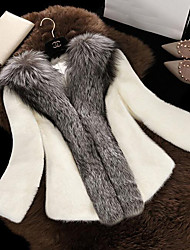 cheap -Women's Daily Wear Simple Casual Winter Fur Coat,Color Block Round Neck Long Sleeves Long Faux Fur Cotton