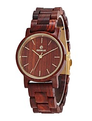 cheap -Women's Quartz Wrist Watch Japanese Wooden Wood Band Dress Watch Wood Minimalist Elegant Red