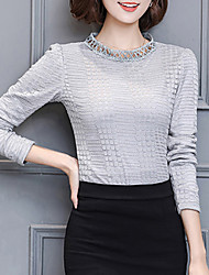 cheap -Women's Daily Going out Active Winter Fall Blouse,Solid Round Neck Long Sleeves Polyester Medium