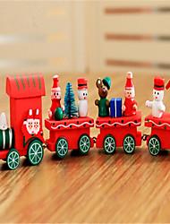 baratos -Decorações Natalinas Presentes de Natal Brinquedos de Natal Trem Brinquedos Cauda Férias Crianças Clássico Boneco de Neve Madeira 1pcs