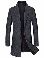 Men's Daily Work Simple Casual Winter Coat,Solid V Neck Long Sleeves Long Cotton Acrylic Buckle