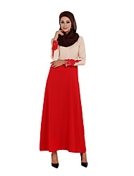 cheap -Women's Party Daily Casual Boho Abaya Kaftan Dress,Color Block Round Neck Maxi Long Sleeves Linen Polyester High Rise Micro-elastic Medium