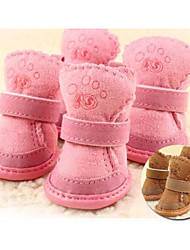 cheap -Cat Dog Pet Shoes Flat Keep Warm Leisure Solid Pink Brown