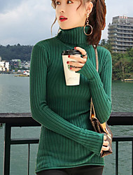 Для женщин На каждый день Обычный Пуловер Однотонный,Круглый вырез Длинный рукав Шерсть Полиэстер Осень Средняя Слабоэластичная