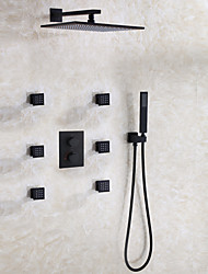 cheap -Contemporary Modern/Contemporary Wall Mounted Rain Shower Thermostatic Ceramic Valve Two Handles Nine Holes Black , Shower Faucet