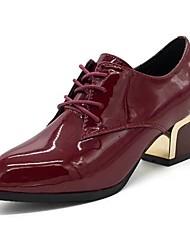 baratos -Mulheres Sapatos Couro Ecológico Inverno Conforto Oxfords Ponta Redonda para Casual Preto Rosa claro Vinho