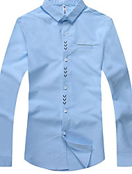 Men's Daily Wear Vintage Shirt,Solid Shirt Collar Long Sleeves Cotton