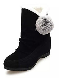 cheap -Women's Shoes Nubuck leather PU Fall Winter Fluff Lining Snow Boots Boots Mid-Calf Boots For Casual Red Gray Black