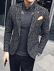 Men's Daily Wear Work Street chic Fall Winter Blazer,Print Shirt Collar Long Sleeve Regular Polyester