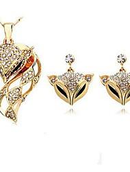 abordables -Femme Boucles d'oreille goutte Collier Strass Animaux Adorable Quotidien Imitation Diamant Alliage Renard 1 Collier Boucles d'oreille