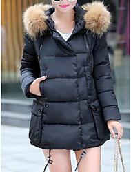 Dámské Standardní Dlouhý kabát Jednoduchý Běžné/Denní Jednobarevné-Kabát Bavlna Dlouhé rukávy