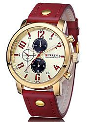 baratos -CURREN Homens Quartzo Relógio de Pulso Japanês Impermeável Mostrador Grande Relógio Casual Couro Banda Casual Fashion Legal Vermelho