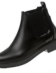 Недорогие -Для женщин Обувь Полиуретан Зима Модная обувь Ботинки На низком каблуке Круглый носок Сапоги до середины икры Назначение Повседневные