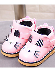 Baby Shoes Leatherette Fall Winter First Walkers Snow Boots Boots For Casual Pink Red Black