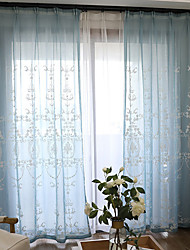 Pencil Pleat Double Pleat Grommet Top Curtain Contemporary Casual , Floral Bedroom Polyester Material Sheer Curtains Shades Home