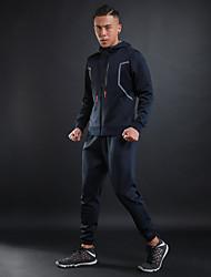 abordables -Hombre Chaqueta de running - Negro, Gris, Azul Real Deportes Chándal Manga Larga Ropa de Deporte Transpirabilidad, Fitness Elástico