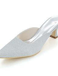 abordables -Femme Chaussures Paillette Printemps / Eté Escarpin Basique Chaussures de mariage Block Heel Bout carré Argent / Rouge / Bleu / Mariage