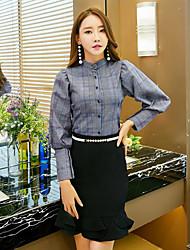economico -Camicia Da donna Casual Moda città A quadri Colletto Poliestere Manica lunga