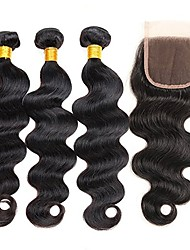 cheap -Indian Hair Remy Human Hair Body Wave Human Hair Weaves 4pcs Natural Color Hair Weaves