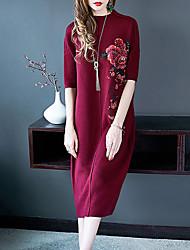 Ample Robe Femme Sortie Chic de Rue,Couleur Pleine Broderie Col Arrondi Midi Manches 3/4 Polyester Taille Normale Micro-élastique Epais