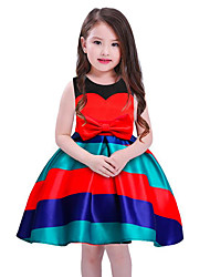 cheap -Girl's Daily Striped Dress,Cotton Polyester Spring, Fall, Winter, Summer Sleeveless Casual Blue Red