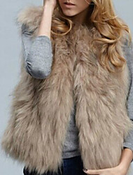 Women's Daily Plus Size Simple Casual Street chic Winter Vest,Solid V Neck Sleeveless Regular Faux Fur Stylish Slim