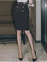 cheap -Women's Work Knee-length Skirts Skirt & Dress Solid Fall