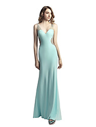 cheap -Mermaid / Trumpet V-neck Floor Length Linen Prom Formal Evening Dress with Beading Sequins by Sarahbridal