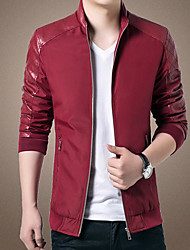cheap -Men's Sports Going out Leisure Korean Winter Fall Leather Jacket,Solid Regular PU