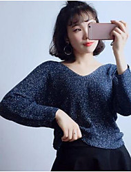 cheap -Women's Daily Going out Short Cashmere,Solid V Neck Long Sleeves Cotton Winter Autumn Medium Micro-elastic