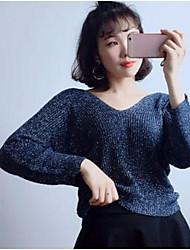 Corto Cashmere Da donna-Casual Per uscire Tinta unita A V Manica lunga Cotone Autunno Inverno Medio spessore Media elasticità